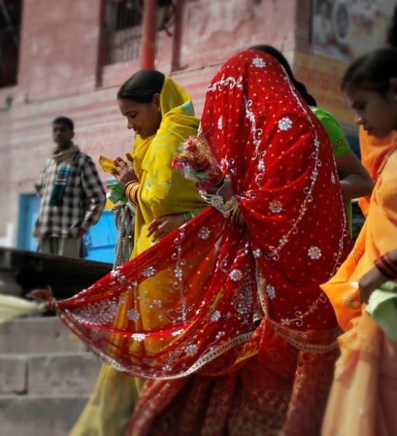 RED: A bride in Varanasi, India