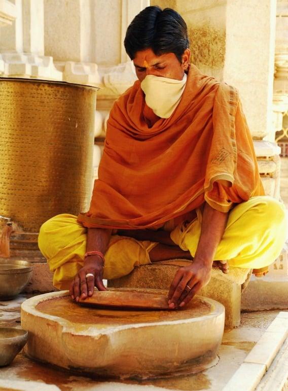 Yellow Monk at Ranakpur Jain Temple, Rajasthan, India
