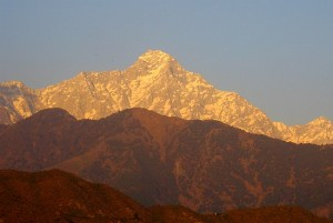 The Himalayas as seen from Dharamsala in north India.
