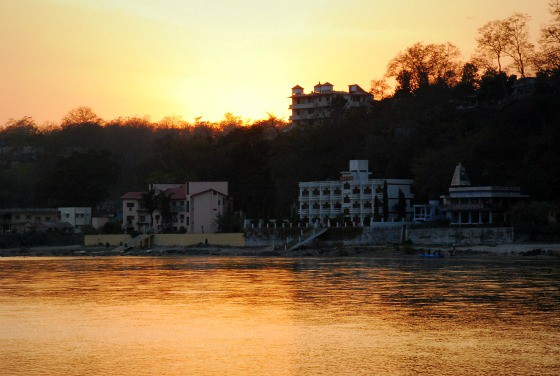 Rishikesh, India at sunset revealing the other worldly nature of this sacred place