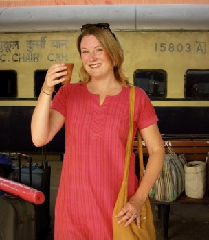 Mariellen Ward of Breathedreamgo at train station in India