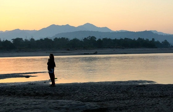 Me, watching the sunrise on banks of Ganga near Aurovalley Ashram, India