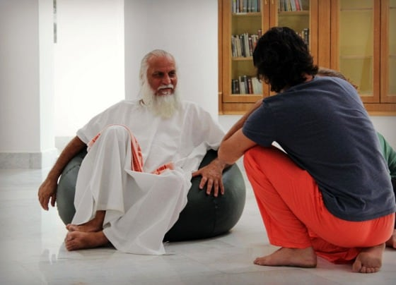 Swami Brahmdev (Swamiji) during satsang in the new library, Aurovalley Ashram, India