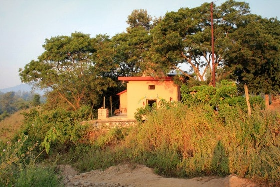 Local temple on the walk to Ganga (Ganges) River, outside Aurovalley Ashram, India