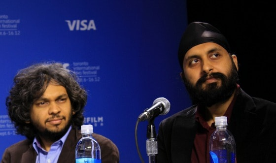 Indian film directors Anand Gandhi and Manjeet Singh at TIFF