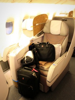 Business class seat aboard Emirates Boeing 777-300 from Dubai to Delhi