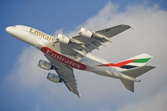 Emirates jet in flight.