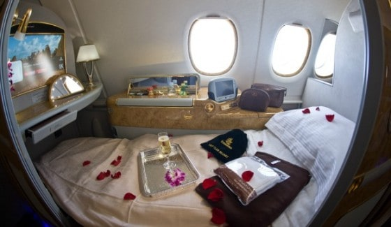 Emirates first class cabin: a bird's eye view.