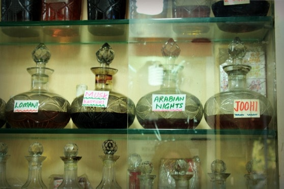 Attar and perfume for sale in Janpath bazaar, New Delhi, India