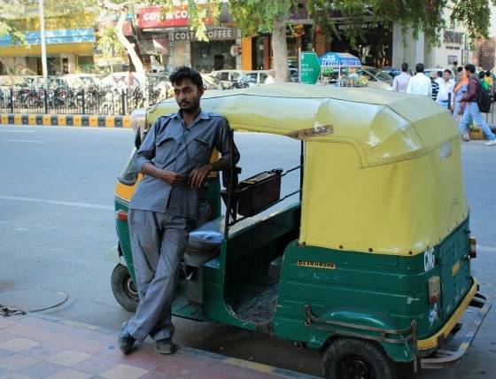 Autorickshaw driver in Janpath, Delhi, India