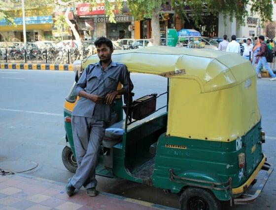Autorickshaw driver in Janpath, Delhi, India