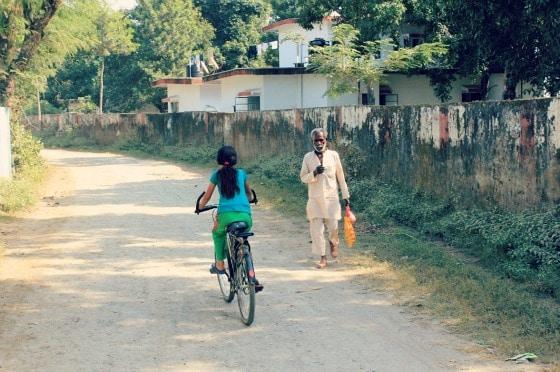 On the road to Raiwala Village, outside Aurovalley Ashram, India