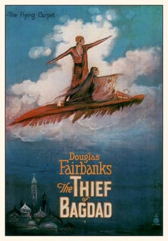 The Thief of Baghdad poster: A flying carpet. Flying Emirates to India