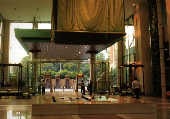 The wind-cooled lobby of the ITC Gardenia Hotel, Bangalore, India
