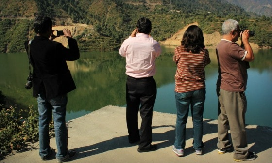Travel bloggers at Club Mahindra ConClay in Kanatal, India
