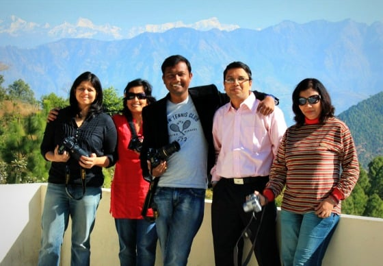 Travel bloggers at Club Mahindra ConClay in Kanatal, India