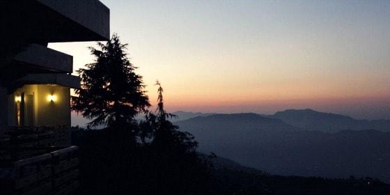 View of the Shivalik mountains at dawn, from my Club Mahindra balcony, Kanatal, India