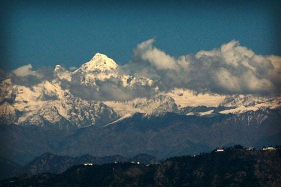 View of the Himalayan peaks from near Club Mahindra, Kanatal, India