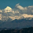 View of the Himalayan peaks from near Club Mahindra, Kanatal, India