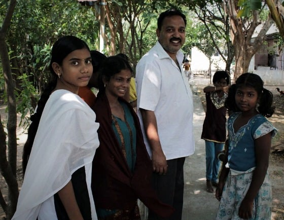 Ramu and some of the children at TDH CORE in Tiruvannamalai, Tamil Nadu, India
