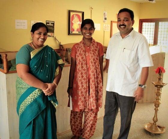 Sharmila, student and Ramu at TDH CORE in Tiruvannamalai, Tamil Nadu, India