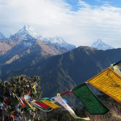 prayer flags and Himalaya mountains