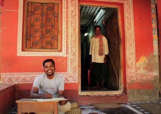 artist Raghurajpur village rural Odisha India palm leaf