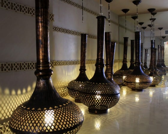 Taj Mahal Agra India. Arabesque Lamps Line The Entrance To The Kaya Kalp  Spa At The ITC Mughal.