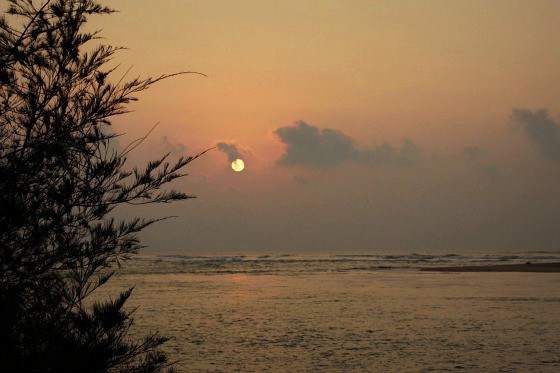 sunrise on the beach in Odisha India
