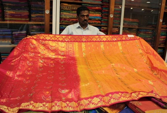 sari shopping at Nalli's in Chennai, India