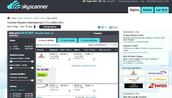 SkyScanner flight and travel price comparison website