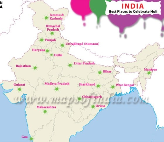 Where to Celebrate Holi from Maps of India.com
