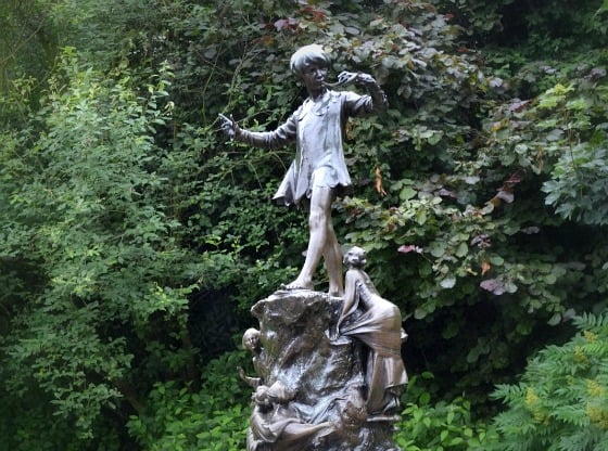 Peter Pan statue in Kensington Park, London