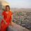 Mariellen Ward at Tiger Fort, overlooking Jaipur, India. 2006