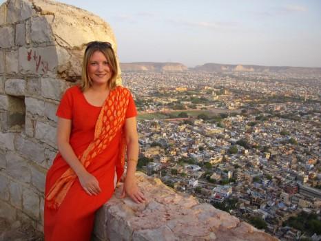 Mariellen Ward at Tiger Fort, overlooking Jaipur, India. 2006
