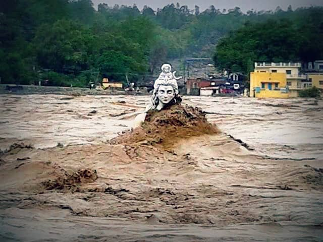 Shiva, Rishikesh, Uttarakhand, India, flood