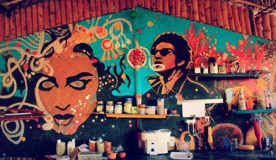 Beach bar mural at Art Escape in Benaluim, Goa