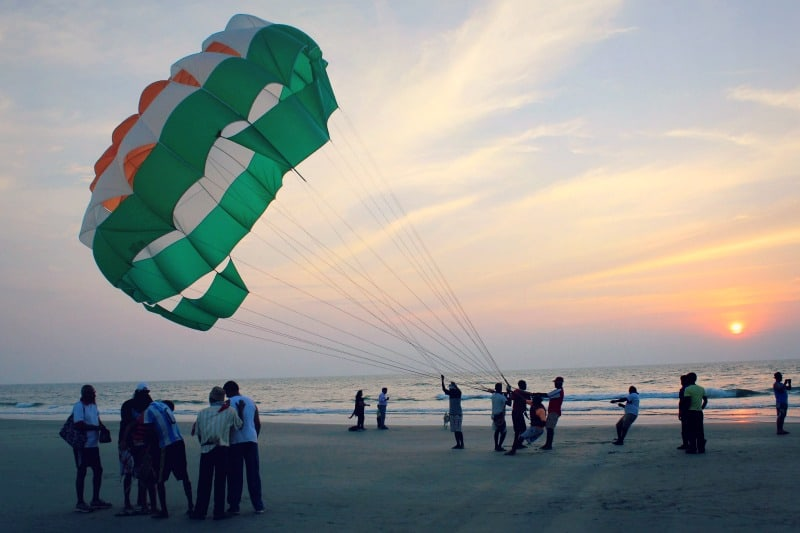 Paragliders on the beach in Goa, India