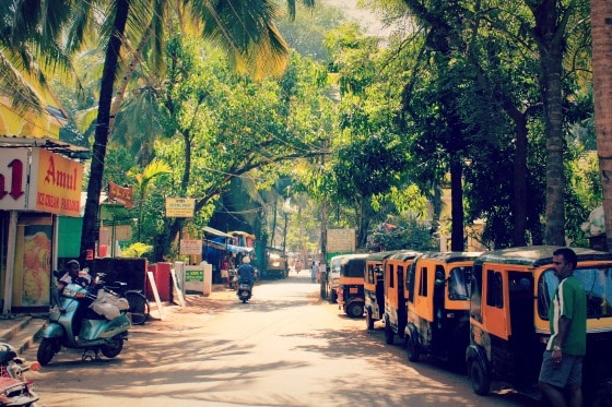 Small street with palm trees and autorickshaws in Goa, India