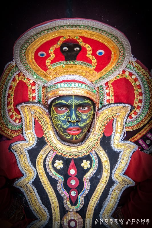 Colorful costumes and painted faces festival season in Kerala - Travel Photographer Andrew Adams
