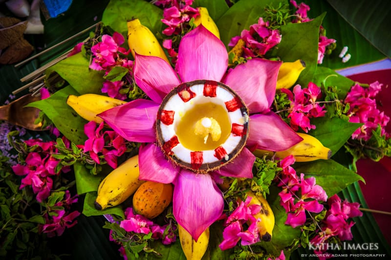 Colourful floral offering at a wedding in Kerala.