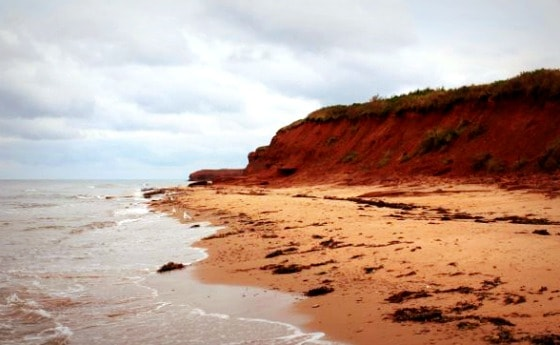 Red cliffs of Prince Edward Island Canada