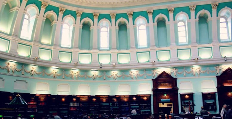 The reading room at the National Library of Ireland, Dublin