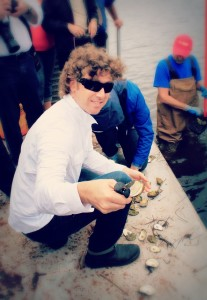 Patrick McMurray at Raspberry Point Oyster Farm, PEI