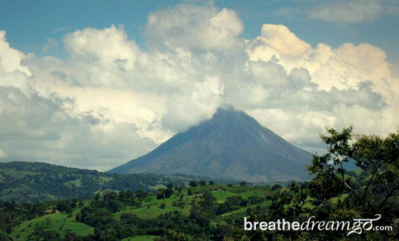 Arenal Volcano on an almost-clear day, Costa RIca
