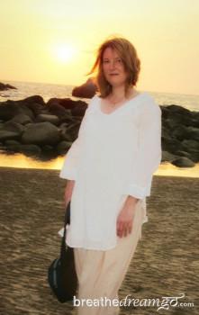 Mariellen Ward, travel writer, Palolem Beach, Goa, India