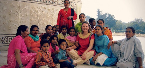 At the Taj Mahal with new-found friends