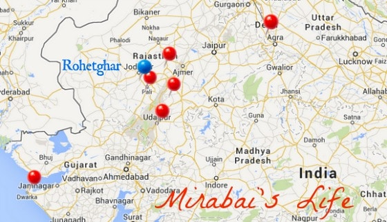 map Rajasthan Mirabai India