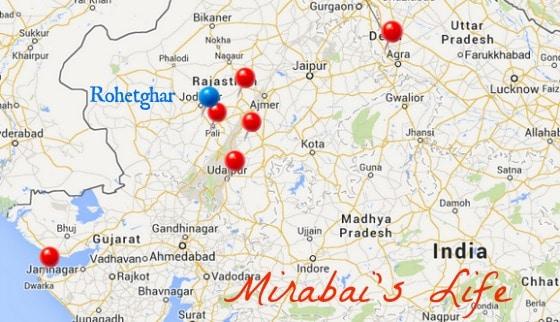 map Rajasthan Mirabai India