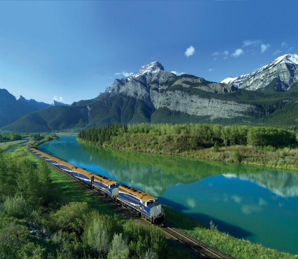 The Canadian Via Rail Train in the Rockies